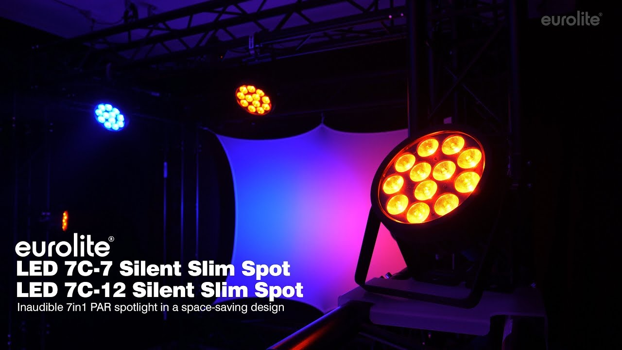 EUROLITE Set 4x LED 7C-12 Silent Slim Spot + Case