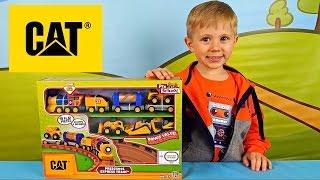 Машинки CAT и железная дорога для детей - Играем с Даником в рабочие машинки