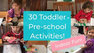 30 Toddler/Preschool Activities! How to Keep 1-4 Year Olds Entertained At Home