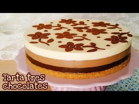 Tarta tres chocolates | Postre sin horno | Mi tarta preferida
