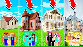 Minecraft: FAMILY LUXURY MANSION BUILD CHALLENGE - NOOB vs PRO vs HACKER vs GOD in Minecraft