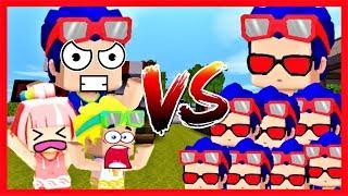 Mini world: Bộ 3 bá đạo vs 1000 Phong Cận Yandere   Thử thách tiêu diệt Yandere lấy 100 kim cương
