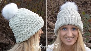 How To Crochet An Easy Winter Hat - Simple Textured Beanie By Naztazia