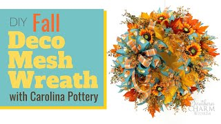 How To Make A Fall Deco Mesh Wreath With Carolina Pottery