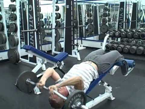 Tricep Workout - Decline Bench Skull Crushers