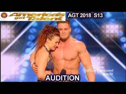 Duo Transcend Aerial Duo Husband & Wife & Judges Comments America's Got Talent 2018 Audition AGT (видео)