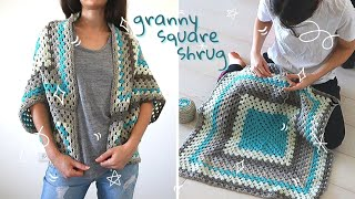 How To Crochet A Granny Square Shrug - Free Cocoon Cardigan Pattern \ Continuous Granny Square