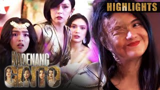 In the middle of Cassie (Francine Diaz) and Marga's (Andrea Brillantes) birthday celebration, Daniela (Dimples Romana) surprises them with a deadly comeback by detonating a bomb at the venue. (With English Subtitles)  Subscribe to the ABS-CBN Entertainment channel! - http://bit.ly/ABS-CBNEntertainment  Watch the full episodes of Kadenang Ginto on TFC.TV: http://bit.ly/KadenangGinto-TFCTV and on iWant for Philippine viewers: http://bit.ly/KadenangGinto-iWant  Visit our official websites!  https://entertainment.abs-cbn.com/tv/shows/kadenangginto/main http://www.push.com.ph  Facebook: http://www.facebook.com/ABSCBNnetwork Twitter: https://twitter.com/ABSCBN  Instagram: http://instagram.com/abscbn  Episode 348 - February 7, 2020 Cast: Dimples Romana (Daniela) / Beauty Gonzalez (Romina) / Andrea Brillantes (Margaret, Marga) / Kyle Echarri (Kristoff, Tope) / Francine Diaz (Cassandra, Cassie) / Seth Fedelin (Mikoy) / Criza Joy Ta-a (Roxanne) / Ronnie Lazaro (Kulas) / Arnold Reyes (Bernard) / Susan Africa (Esther) / Adrian Lindayag (Neil) / Kat Galang (Bonita)  Watch more Kadenang Ginto videos here: Highlights - http://bit.ly/KadenangGintoHighlights Bloopers - http://bit.ly/KadenangGintoBloopers Recaps - http://bit.ly/KadenangGintoRecaps  #KGTheBattleOfTheDragons #KadenangGinto #ABSCBNKadenangGinto