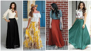 50 Ways To Wear Long Skirts || Long Skirt Outfit Ideas For Girls || Long Skirt Designs 2019