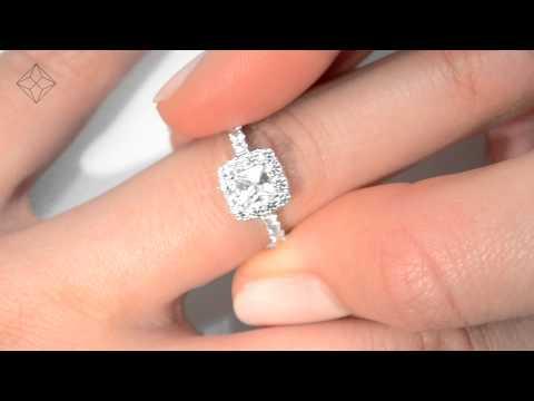 Beautiful Aria White Gold 1.30ct Princess Cut Diamond Halo Ring - UT48