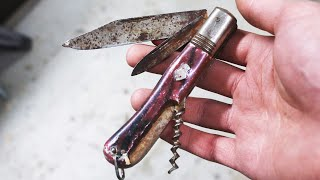 Restoring rusty vintage pocket knife - Knife restoration