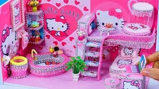 DIY Miniatures Dollhouse Bathroom and Bedroom ~ Hello Kitty Room Decor #26