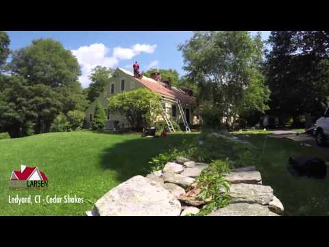 This time-lapsed video shows a full cedar shake roof replacement in Ledyard, CT. This house was built in the 1600s, with additions built in the 1800s and 1990s.