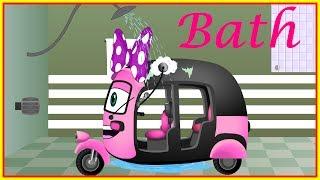 Mega Auto Rickshaw Family Having a Bath|  Finger Family nursery rhymes collection for kids
