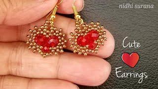 ⚜️Cute ❤️ Earrings    How To Make    Crystal & Seed Bead    Aretes Tutorial Diy (0394)