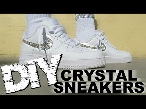 DIY CRYSTAL NIKES - How to bedazzle sneakers - with On Feet (AF1)