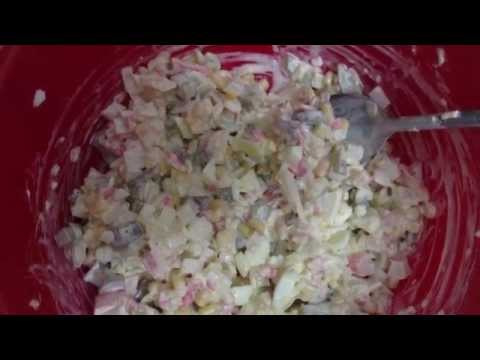 Салат крабовые палочки  no диетe Дюканa Круиз. Salad from crab sticks Dukan diet,Cruise