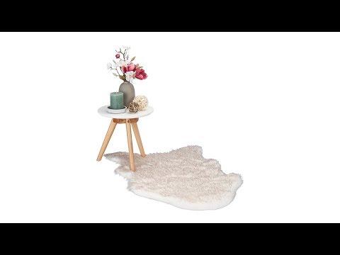 Kunstfell Teppich Weiß Rosè