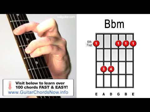 Bbm Minor - Guitar Chord Lesson - Easy Learn How To Play Bar Chords Tutorial