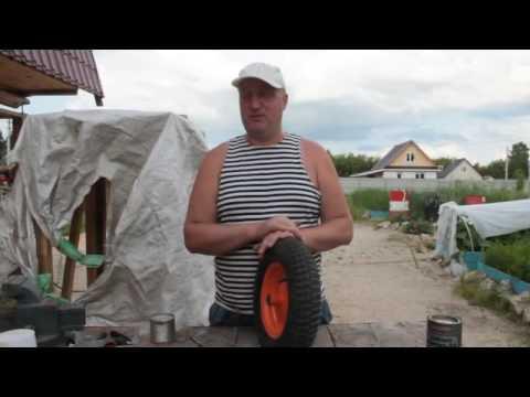 Ремонт колеса для садовой тачки на коленке за 5 минут