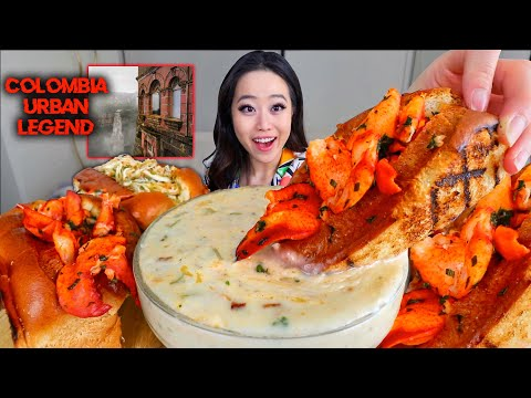 GIANT LOBSTER ROLLS + Shrimp & Crab Rolls with Clam Chowder MUKBANG