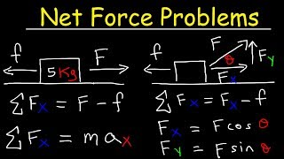 Net Force Physics Problems, Frictional Force, Acceleration, Newton's Laws Of Motion,