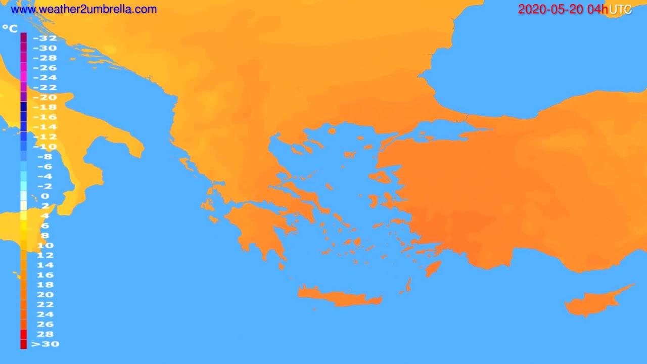 Temperature forecast Greece // modelrun: 12h UTC 2020-05-19