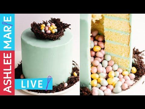 Easter Egg filled Pinata Cake – Vanilla cake with Easy Swiss Meringue Buttercream – LIVE