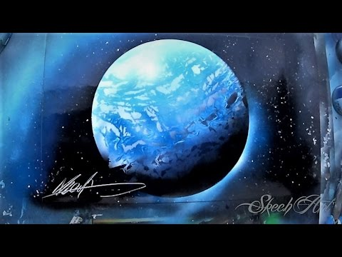 spray painting 3d planets and stars by skech art