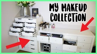 MY MAKEUP COLLECTION!! Organized, Decluttered + Storage Ideas!