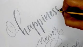 How To : Write in Modern Calligraphy with Pencil | Easy Hand Lettering for Beginners