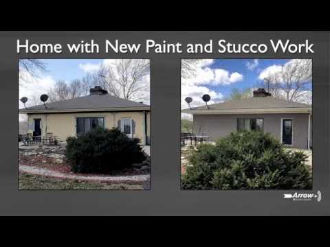 New paint and stucco work on this 3,750 square foot home in Bonner Springs, KS.