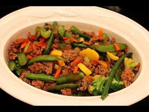 Video Bodybuilding Cutting Meal: Low-Carb Beef & Vegetable Stir Fry