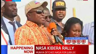 Kiminini MP Chris Wamalwa addresses a jubilant crowd at Kibra during a NASA rally