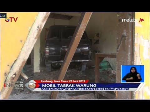 Sopir Mengantuk, Mobil Juragan Tahu Tabrak Warung di Jombang - BIS 24/06