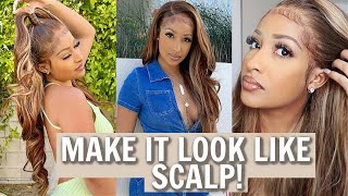 HOW TO MAKE YOUR WIG LOOK LIKE REAL SCALP! (Honey Blonde Wig From Unice Hair)