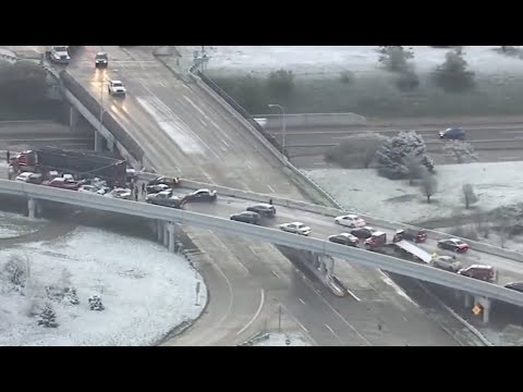 2 massive pileups on I-94 & I-696 ramps involve dozens of cars