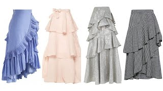 Top 45+ Frill Layered Long Skirts Designs 2020~Amazing Tiered Skirts Design Ideas Latest Collection)