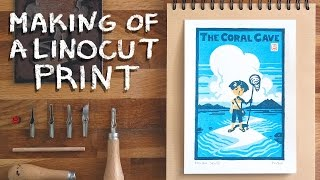 The Coral Cave: Making of a linocut print
