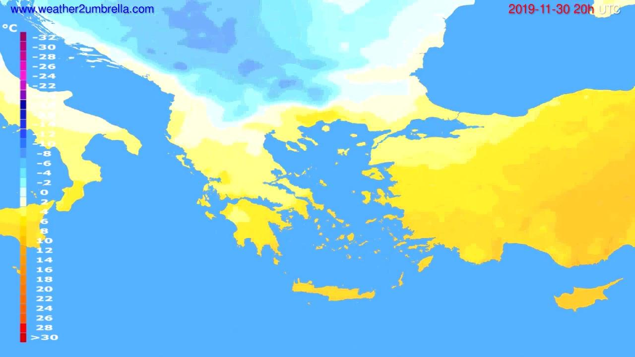 Temperature forecast Greece // modelrun: 12h UTC 2019-11-29