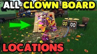 Get a Score Of 10 at different Carnival Clown Boards! ALL LOCATIONS FORTNITE Week 9