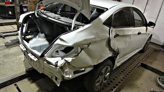 Хендай Солярис.Кузовной ремонт после боковых ударов.Часть1