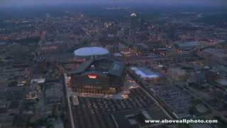 Aerial video featuring Lucas Oil Stadium