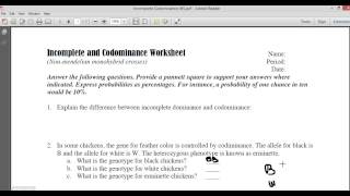 Incomplete And Codominace Worksheet Part1