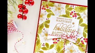 How To Make A Hand Stamped Hellebore Pattern For Christmas Card With WPlus9