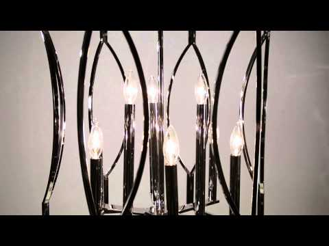 Video for Roswell Polished Nickel Nine-Light Pendant