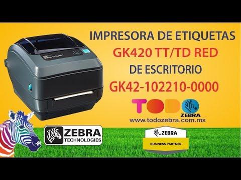 Impresora de etiquetas ZEBRA GK420 TD TT 203Dpis 4Pgd USB Red
