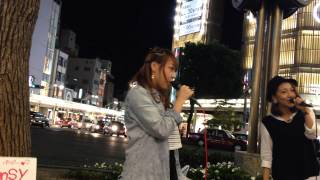 Pansy(森本菜々&MA'LIL)「You're My Hero」(オリジナル) 2014/09/27② 京都 四条通河原町 京都タカシマヤ前
