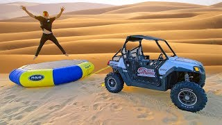 Towing Trampoline off Sand Dune Jumps!