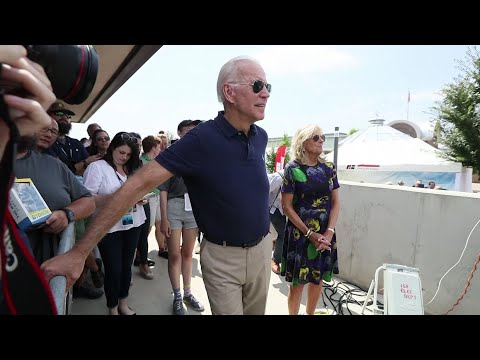 Joe Biden and Montana Gov. Steve Bullock are the first of more than 20 presidential candidates to speak at the Iowa State Fair. (August 8)